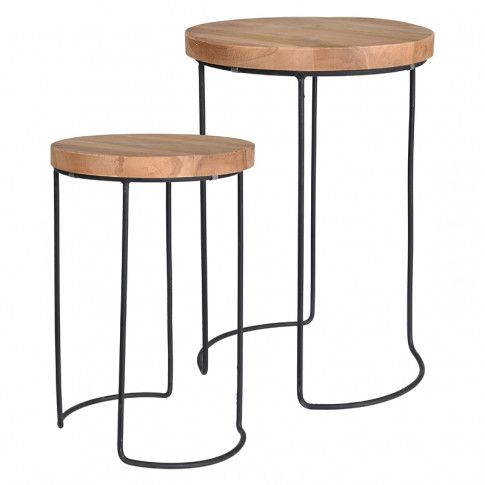 Zdjęcie produktu Zestaw loftowych stolików kawowych Zama - naturalne.