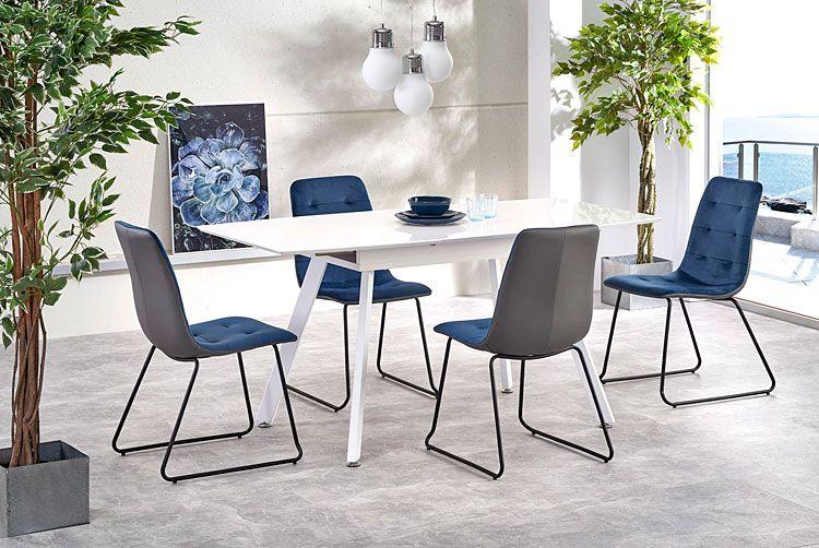 Niebieskie krzesło pikowane do salonu Hider