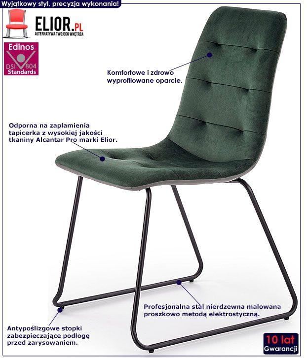 Zielone krzesło pikowane do kuchni, salonu Hider