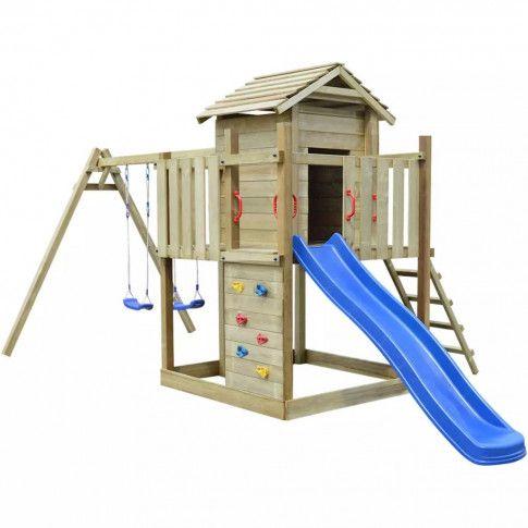 Zdjęcie produktu Plac zabaw z drabinką, zjeżdżalnią i huśtawkami 557 x 280 x 271 cm.