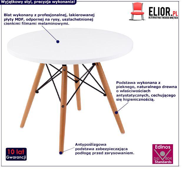 Skandynawski stolik kawowy Stario - biały