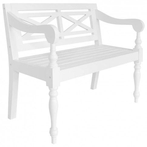 Zdjęcie produktu vidaXL Ławka Batavia, 98 cm, lite drewno mahoniowe, biała .