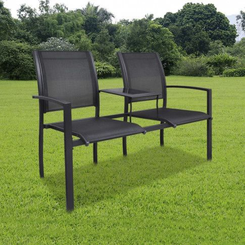 Zdjęcie produktu vidaXL Ławka ogrodowa dla 2 osób, 131 cm, stal i textilene, czarna.