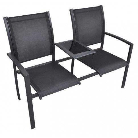 Zdjęcie produktu Metalowa ławka ogrodowa Lemi - czarna.