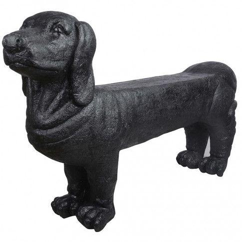 Zdjęcie produktu Ławka ogrodowa w kształcie jamnika Jared - czarna.