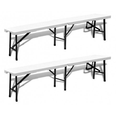 Zdjęcie produktu Zestaw dwóch ławek ogrodowych Brean - biały.