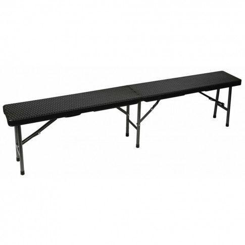 Zdjęcie produktu Perel Składana ławka stylizowana na wiklinową, czarna, FP160R.