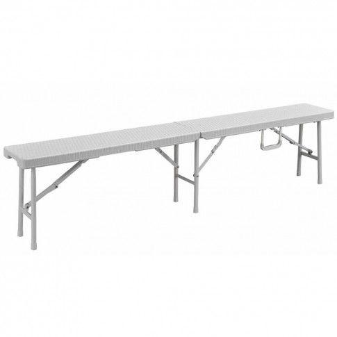 Zdjęcie produktu Perel Składana ławka stylizowana na wiklinową, biała, FP160RW.