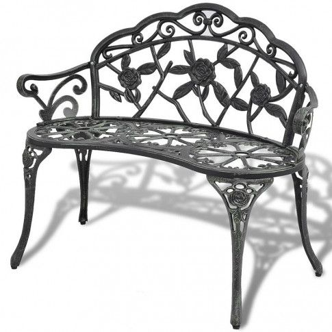 Zdjęcie produktu Metalowa ławka ogrodowa Loryn - zielona.
