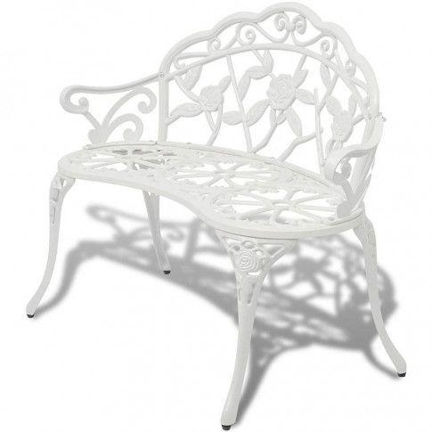 Zdjęcie produktu Metalowa ławka ogrodowa Loryn - biała.