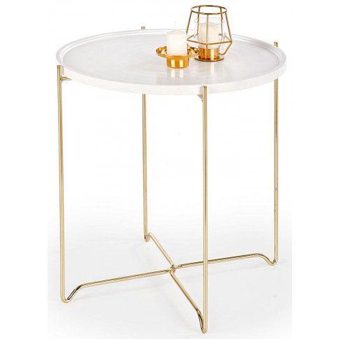 Zdjęcie produktu Okrągła ława Niksa - biała + złota.