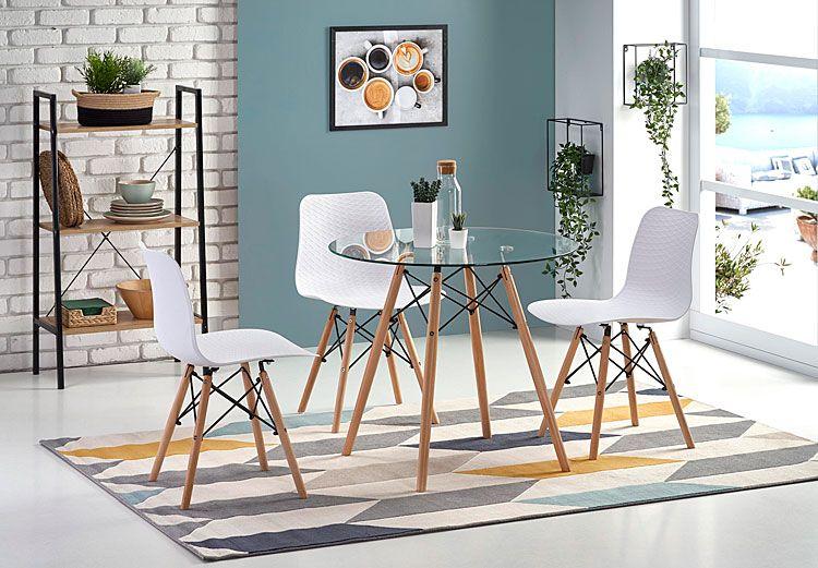 Białe krzesło drewniane do kuchni, salonu Allan
