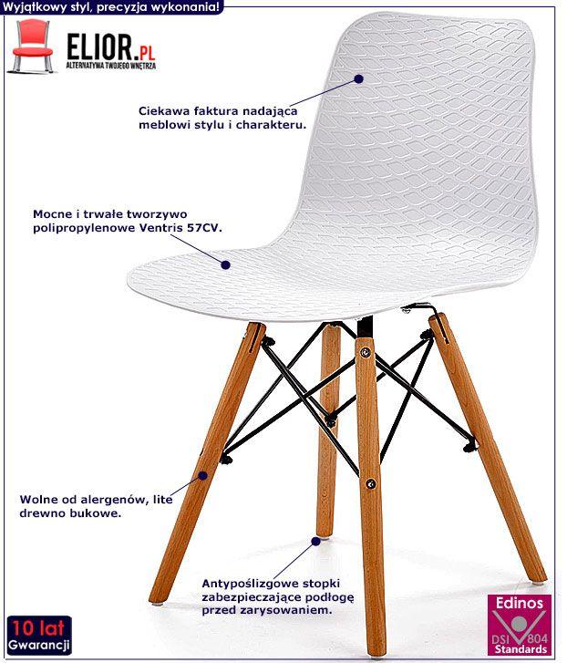 Białe krzesło drewniane kuchenne Allan