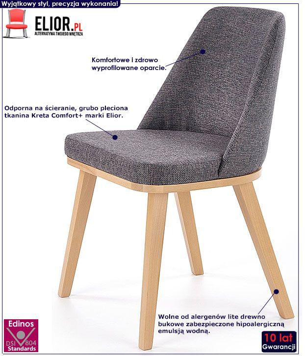 Szare drewniane krzesło do kuchni, jadalni Master