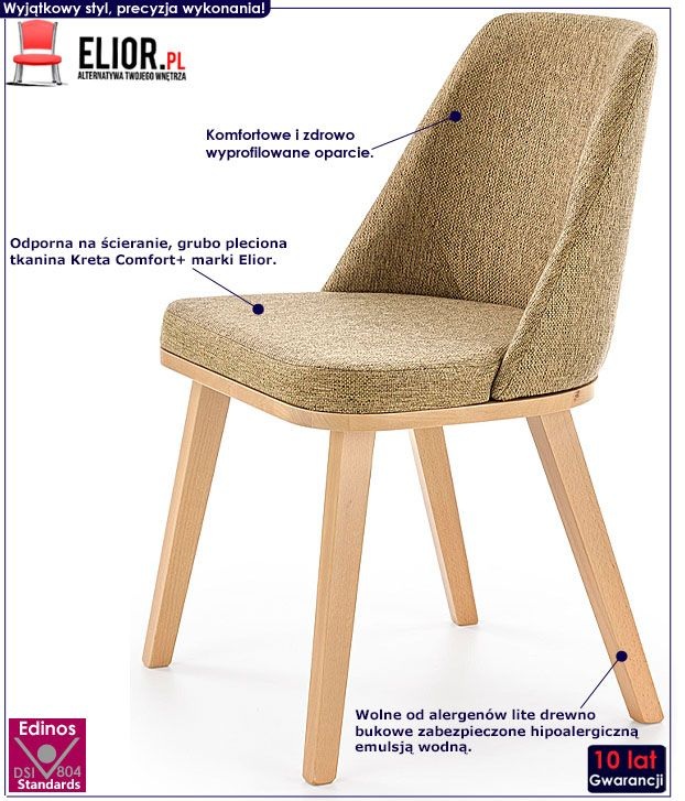 Drewniane zielone krzesło tapicerowane Master