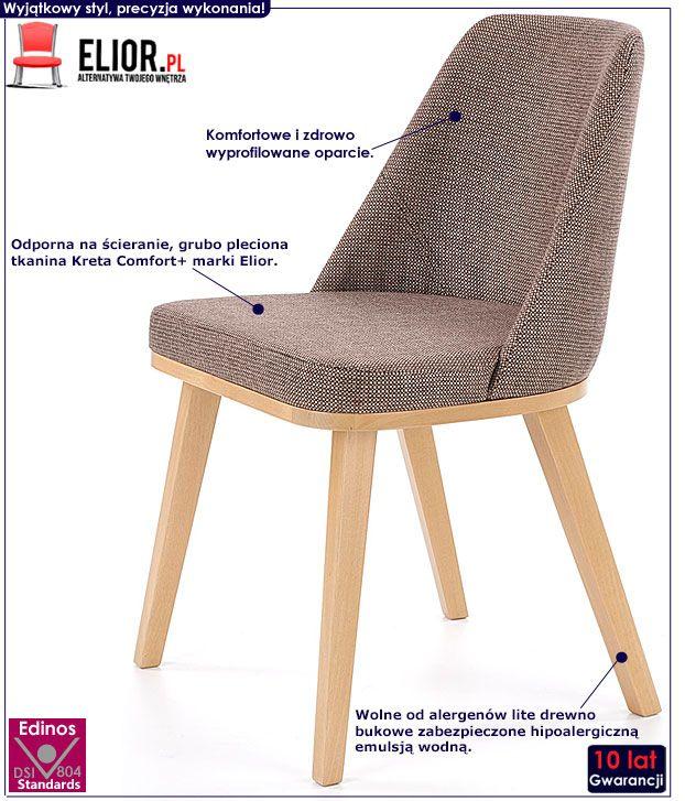 Brązowe krzesło drewniane do stołu Master