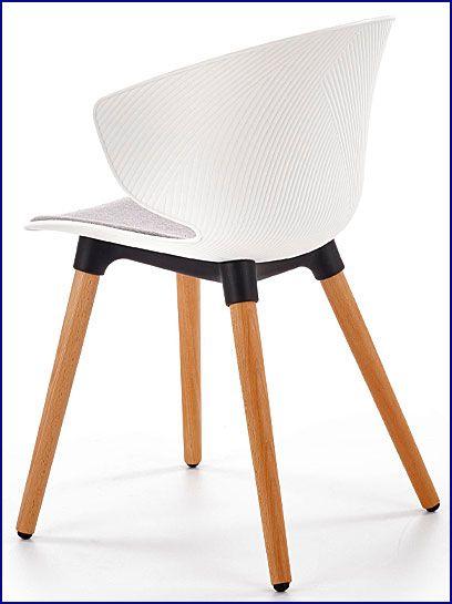 Białe drewniane krzesło kuchenne Kris