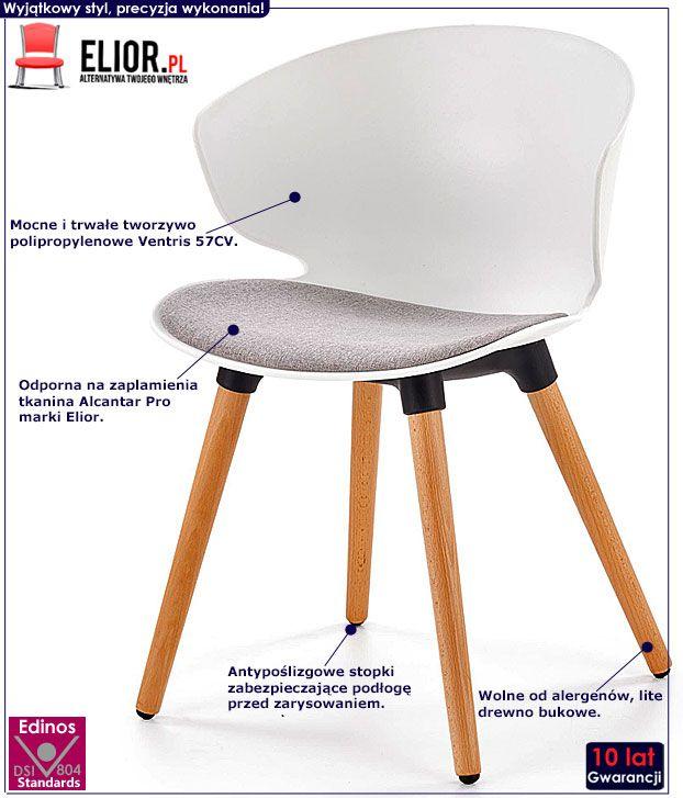 Białe krzesło w skandynawskim stylu Kris