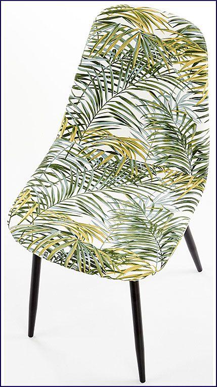 Tapicerowane krzesło z wzorem liści Marti