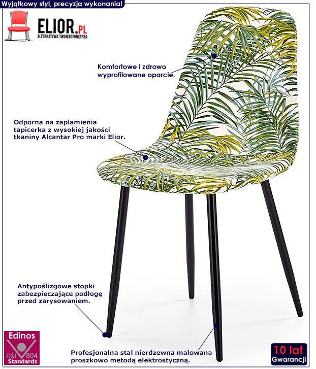 Kolorowe krzesło kuchenne z wzorem liści Marti