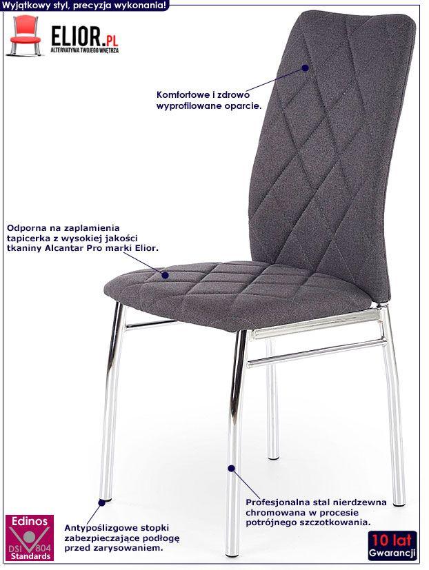 Szare krzesło pikowane do salonu Rankin