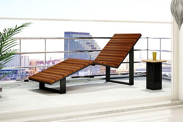 Modny leżak ogrodowy Zeris - drewno