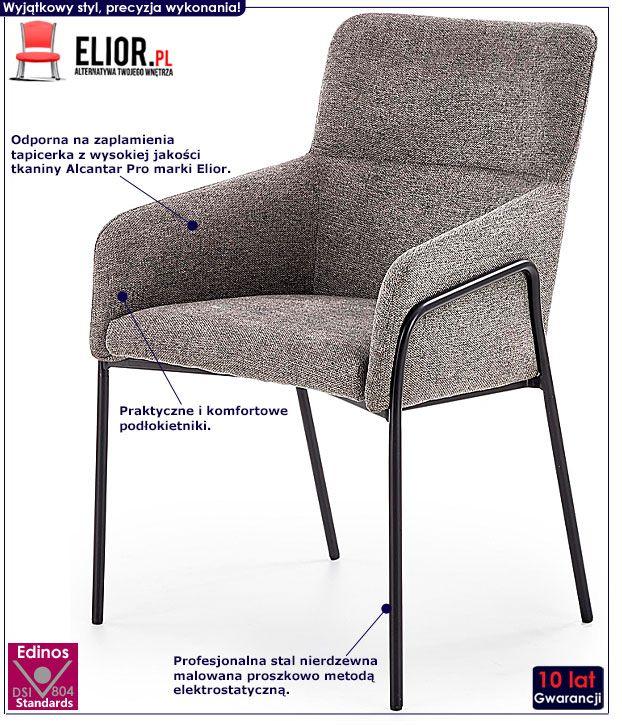 Popielate krzesło w industrialnym stylu Entor