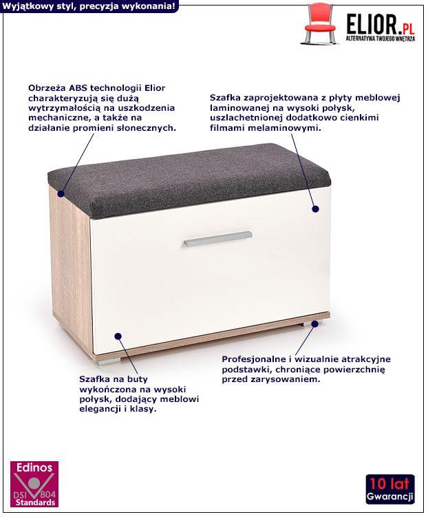 Skandynawska szafka na buty Lines L2 - biała i dąb sonoma