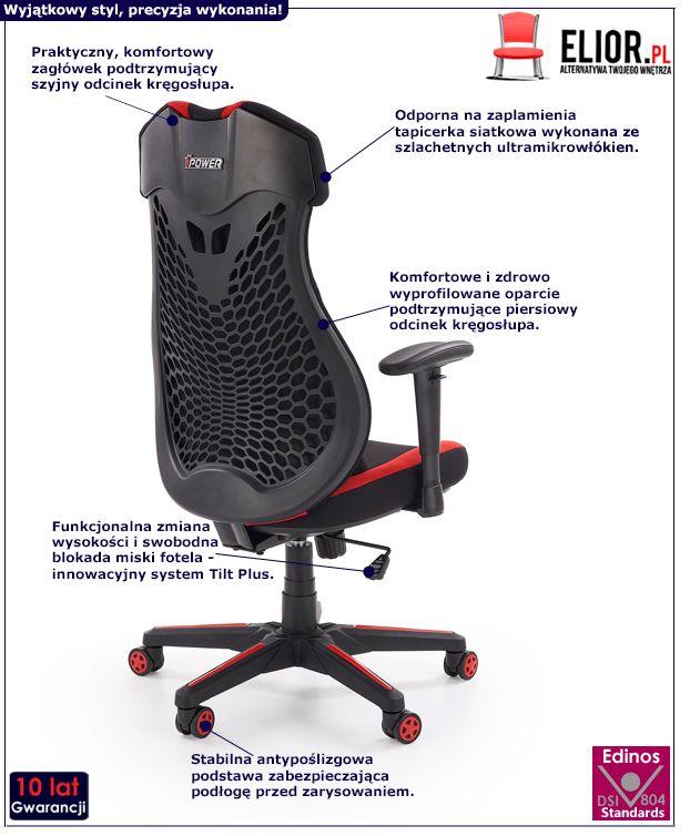Fotel gabinetowy Galert - czerwony i czarny