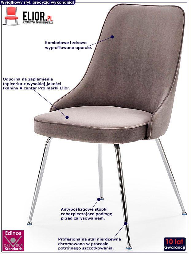 Szare krzesło tapicerowane do kuchni, salonu Singer