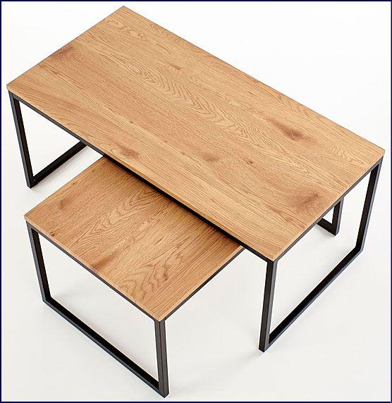 Dwa stoliki kawowe do salonu, loftu dąb złoty Noemi