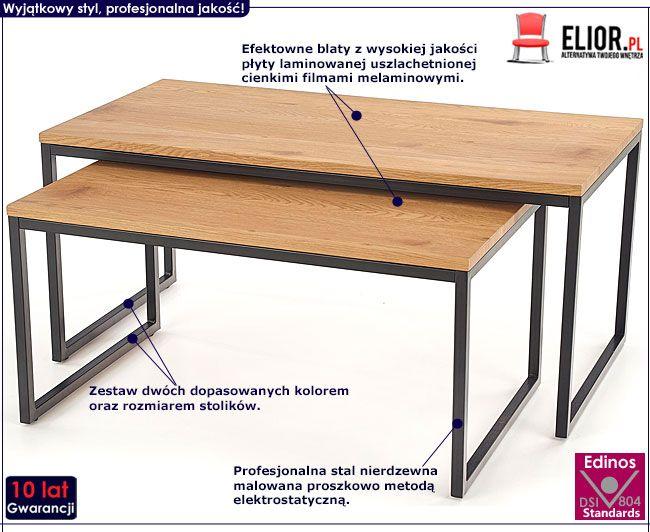 Zestaw dwóch prostokątnych ław do salonu dąb Noemi
