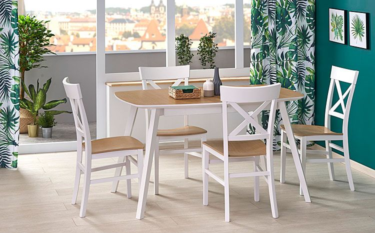 Białe drewniane krzesło kuchenne do stołu Toran
