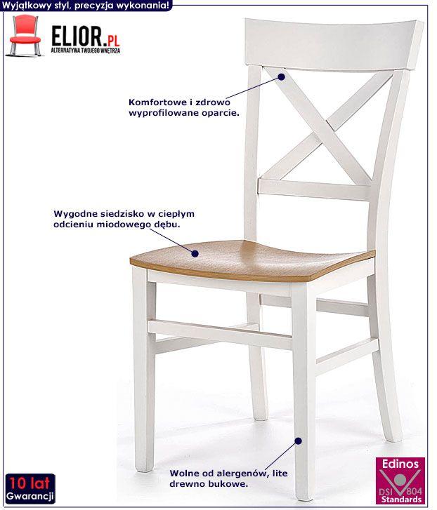 Skandynawskie białe krzesło drewniane Toran