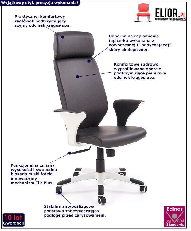 Stylowy fotel gabinetowy Erron - czarny