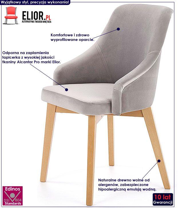 Popielate krzesło drewniane do stołu Altex 2X