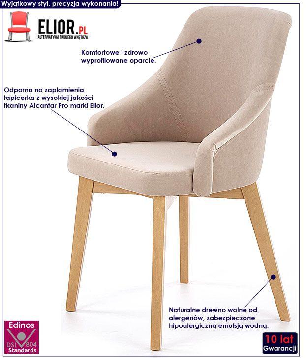 Beżowe krzesło drewniane do jadalni Altex 2X