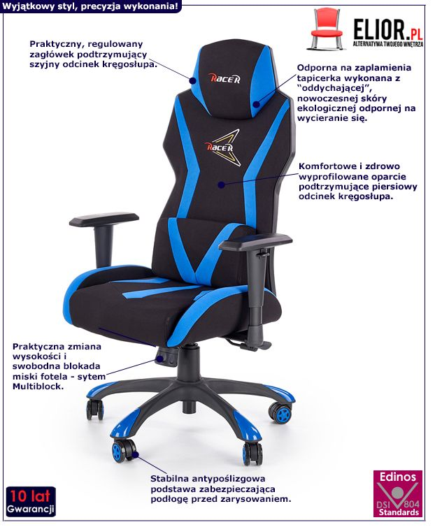 Stylowy fotel Euron - czarny i niebieski