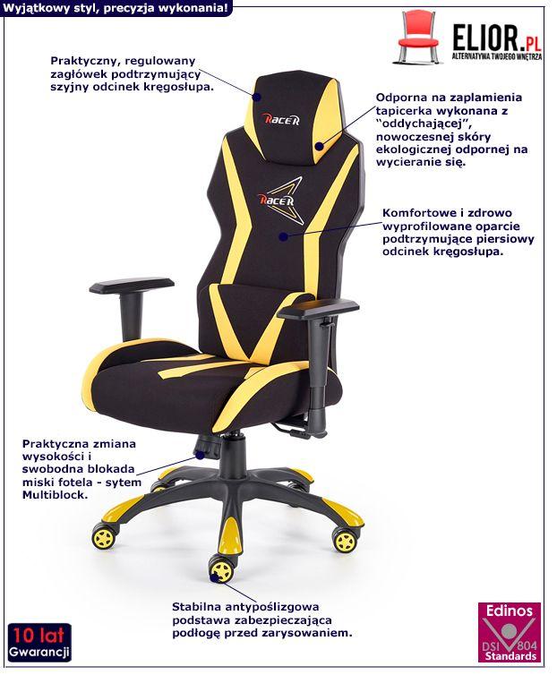 Nowoczesny fotel gabinetowy Euron - żółty i czarny