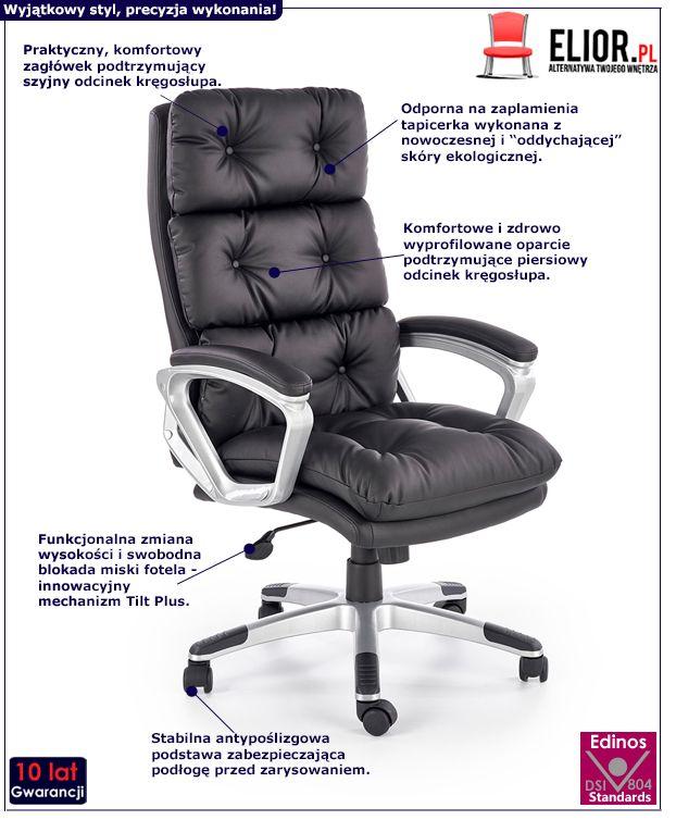 Czarny fotel gabinetowy Filip - pikowany