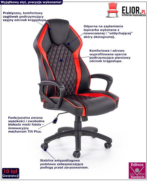 Nowoczesny fotel Cuban - czarny i czerwony