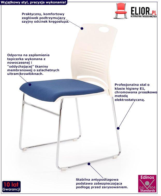 Modny fotel konferencyjny Memos - niebieski i biały