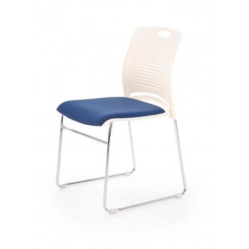 Zdjęcie produktu Fotel konferencyjny Memos - biały + niebieski.