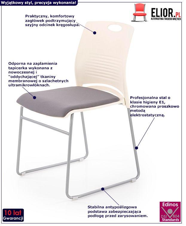 Nowoczesny fotel konferencyjny Memos - szary i biały