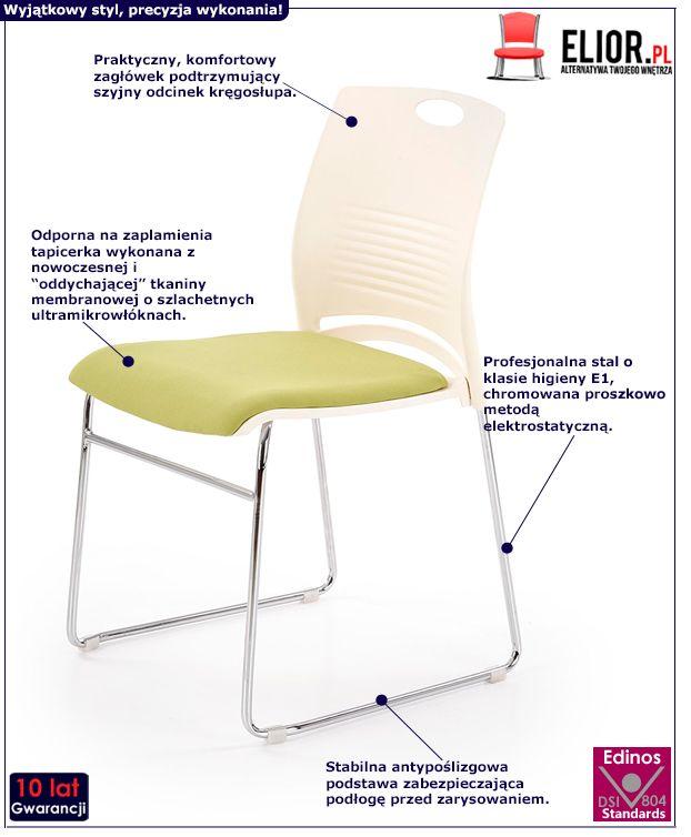 Wygodny fotel konferencyjny Memos - biały i zielony