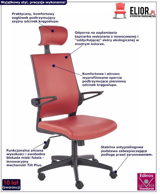 Wygodny fotel obrotowy Roftel - czerwony