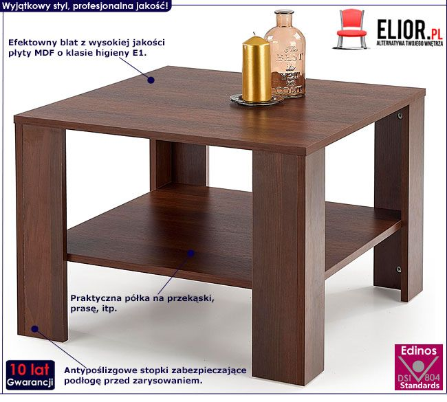 Kwadratowy stolik do salonu ciemny orzech Keli 2X