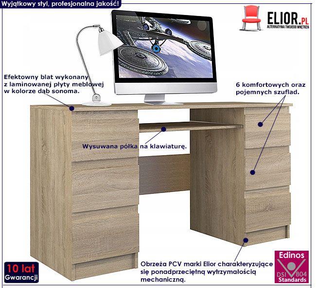 Młodzieżowe biurko z szufladami dąb sonoma Liner 2X