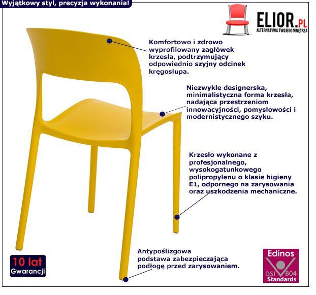 Designerskie krzesło Delior 2X - żółte