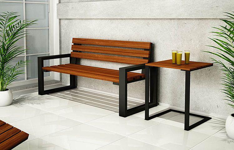 Kwadratowy stolik drewniany do ogrodu, na taras Norin
